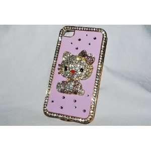 Designer Bling Crystal Rhinestone Hard Cover Case Handmade Pink Kitten