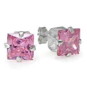 Sterling Silver 8mm Pink CZ Cubic Zirconia Square Stud