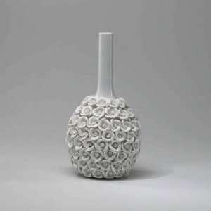 Long Neck Applique Vase, Gloss White Glaze Finish