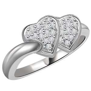 Diamond and 18kt Gold Rhodium Plated Heart Ring Jewelry