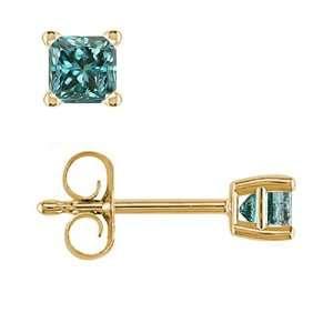 1/2 CT Princess Cut Blue Diamond Stud Earrings 14k Yellow