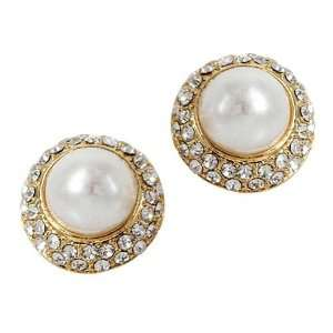 Clip On Earrings 14KT Gold Filled Crystal Pave Pearl Clip on Earrings