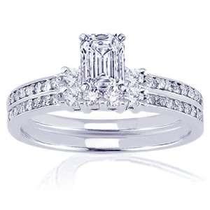 90 Ct Emerald Cut Diamond Engagement Weddding Rings Pave Set SI2 CUT