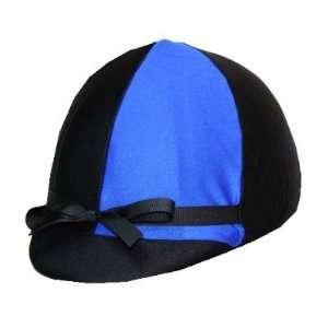 Equestrian Riding Helmet Cover   Royal Blue and Black