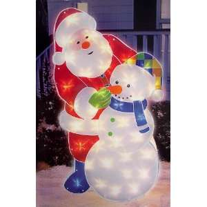 36 Glitter Glow Lighted Santa & Snowman Christmas Yard
