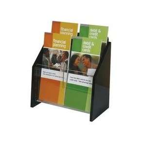 D019330W    Wall Mount Brochure Holder, Clear w/Black Ends, 2 tier