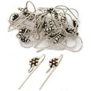 Sterling Silver Bali Bead Fish Hook Earrings Approx 25