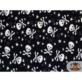 Fleece Fabric Printed Skull *Grey White Cross Skull* Fabric By the
