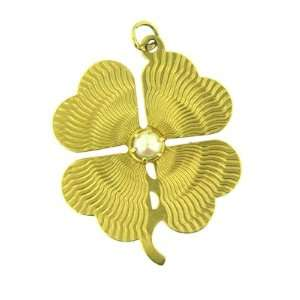 14 KT YELLOW GOLD CLOVER LEAF PEARL CHARM PENDANT Jewelry