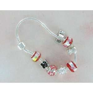 European Sterling Silver 8 Bead Charm Friendship Story Bracelet