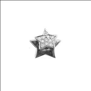 Gold, Double Star Slider Pendant Charm Created Gems 14mm Wide Jewelry