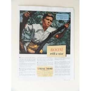 General Motors. 40s full page print ad. (boy in tree