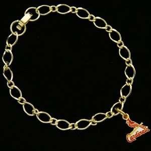 MLB St. Louis Cardinals Ladies Gold Tone Charm Bracelet