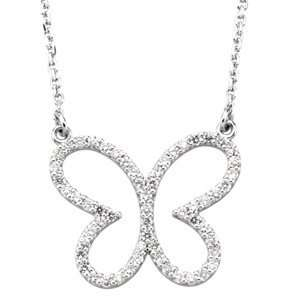 1/3 CT TW 14K White Gold Diamond Butterfly Necklace Jewelry