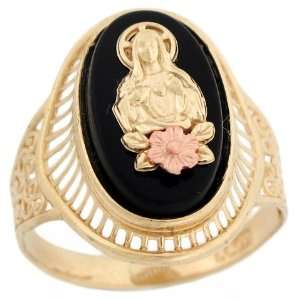 Tone Gold Jesus Rose Gold Flower Religious Filigree Onyx Ring Jewelry