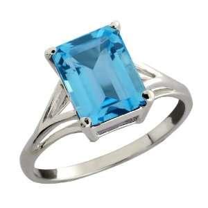 3.20 Ct Octagon Swiss Blue Topaz 10k White Gold Ring Jewelry