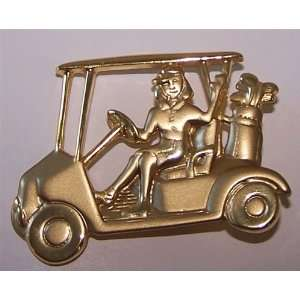 Gold Plated Lady Golfer in Golf Cart Pin