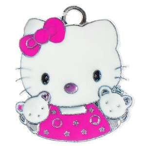DIY Jewelry Making Hello Kitty w/ bear pals enamel charm   Hot Pink