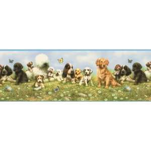 Puppy Blue Wallpaper Border in York Kids 4: Home