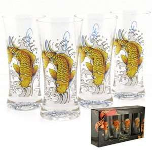 Licensed Don Ed Hardy Gold Koi Fish Flare Shot Glass