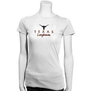 Texas Longhorns Ladies White Team Logo Tissue T shirt