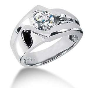 Men s 14K Gold Diamond Ring 1 Round Stone 1.25 ctw 10714