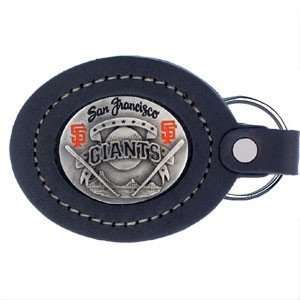 Giants Large Leaer & Pewter MLB Key Ring Sports & Outdoors