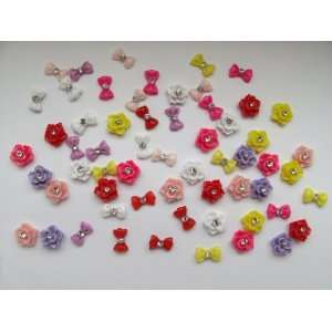 Nail Art 3d 60 Pieces Mix Glitter Rose /Bow /Rhinestone for Nails