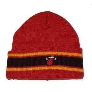 NBA Miami Heat Cuff Beanie Hat Cap   Orange Red Stripe