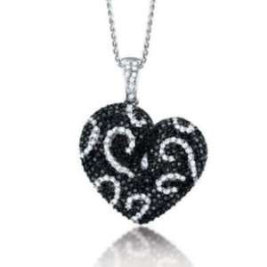 2.50CT Black & White Diamond Heart Pendant set in 6.8GR of