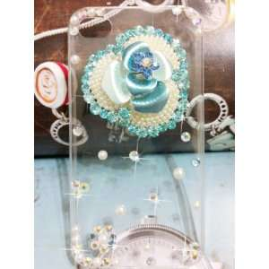 Yupy 3D clear transparent Blue Orchid Flower White Pearl