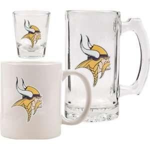 Minnesota Vikings Glassware Set 3D Logo Tankard, Coffee