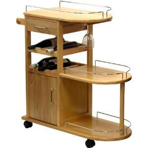 Functional Solid Wood Kitchen Serving Cart w/Storage Home & Kitchen