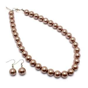 12mm Champagne Pearl Earrings & Necklace Set Jewelry
