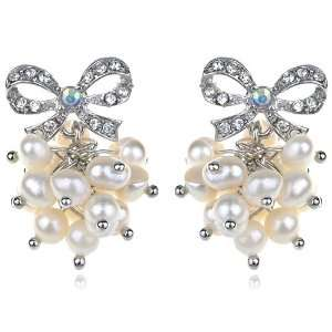 Cluster Elegant Clear Crystal Rhinestone Bow Pierced Earrings Jewelry