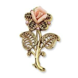 Gold tone Pink Porcelain Rose/Pink Crystal Pin 1928 Jewelry Jewelry