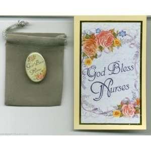 God Bless Nurses Pin with Holy Prayer Card and Velour Bag