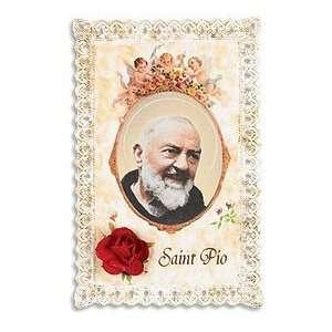 Lace Holy Prayer Card with Silk Rose Flower Keepsake Saint St Pio