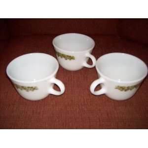 Corelle Pyrex Cups/Mugs Spring Blossom (green pattern)(Set
