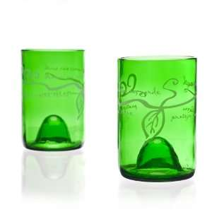 Recycled Wine Bottle Tumblers   Green