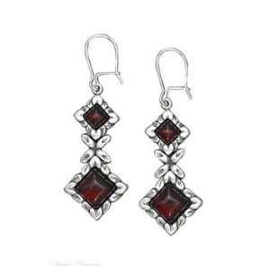 Sterling Silver Cherry Red Amber Diamond Shape Stone Earrings Jewelry