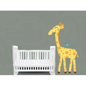 childrens removable vinyl wall decal Giraffe with Bird great for any