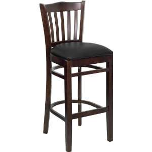 Back Wooden Restaurant Bar Stool with Black Vinyl Seat