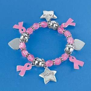 Breast Cancer Awareness Charm Bracelet   Pink Ribbon Toys & Games