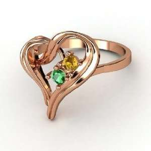 Heart Ring, 14K Rose Gold Ring with Emerald & Citrine Jewelry