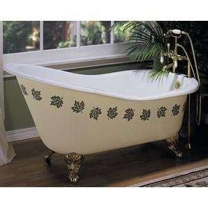 Elizabethan Classics SBTAPPB Slipper Tub Rim Holes Cast Iron, White