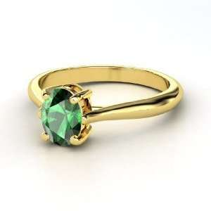 Oval Solitaire Ring, Oval Emerald 14K Yellow Gold Ring