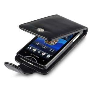 SONY ERICSSON XPERIA RAY PREMIUM PU LEATHER FLIP CASE   BLACK, WITH
