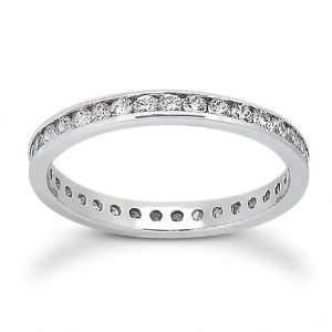 Sterling Silver Channel CZ 2.5mm Eternity Wedding Band Ring. Stackable