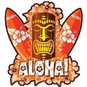 Hawaii Orange Tiki Car Window Decal Sticker Automotive